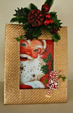 Spray painted holiday picture frame, see how-to on www.thriftychicliving.com