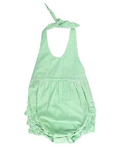 RuffleButts Infant  Toddler Girls Green Striped Seersucker Bubble Romper  GreenSeersucker  1218m * For more information, visit image link.