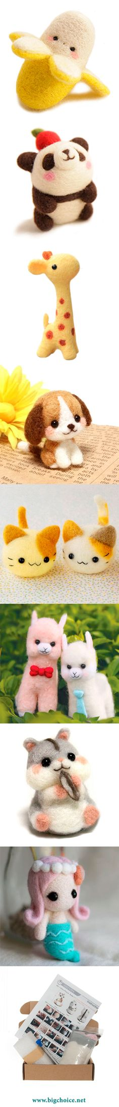 Do you like needle felting and are you looking for cool ideas? Buy needle felting DIY kit and make different characters like panda, cat, dog, giraffe, banana, etc. How to start needle felting?  Get DIY kit, that has everything for beginners.