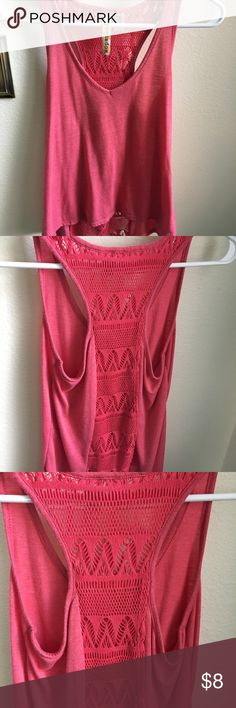 Pink Lace Tank Pink/salmon colored racerback tank with lace back. The back lace part opens up towards bottom. Very cute light, summer Tank Eyeshadow Tops Tank Tops