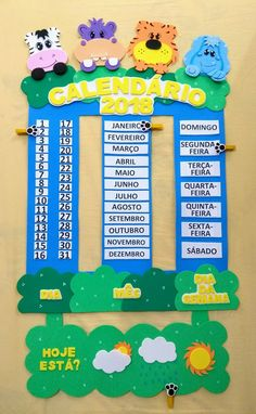 Daily School Calendar from Oriental Trading Company Classroom Calendar, Classroom Board, School Calendar, Classroom Decor, Class Decoration, School Decorations, Diy For Kids, Crafts For Kids, Teaching Aids