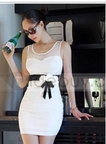 ファッションノースリーブラウンドネックアソートカラーセクシーなスリムドレス