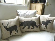 Woodsy burlap deer, bear, moose pillows (Etsy)  https://www.etsy.com/listing/62827584/burlap-deer-reindeer-pillow-cushion-for?ref=sr_list_25