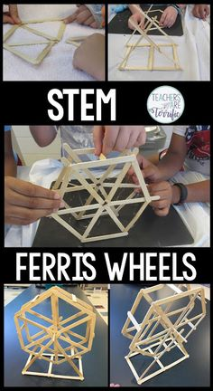In this challenge, students will be using craft sticks and glue to make a spinning Ferris Wheel. The wheel has two sides and students must be diligent in making the sides match. Also, the two sides must be joined together with a central turning rod or axl Engineering Design Process, Engineering Projects, Science Projects, Stem Projects For Kids, Stem For Kids, Crafts For Kids, Kid Projects, Stem Science, Science Experiments Kids