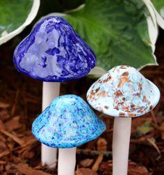 Three medium ceramic mushrooms by FabulousFungi on Etsy