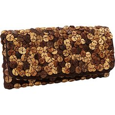 Moyna Handbags Foldover Clutch Brown - Moyna Handbags Fabric Handbags