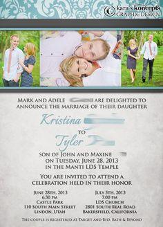 Kara's Koncepts Graphic Design - Custom Wedding Invitations, Canvas Wraps, Logo Design#winweddinginvites2014  #karaskoncepts
