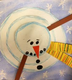 New view of a snowman. Out of the box preschool craft.