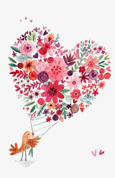 Holding a flower bird, birds, pink flowers, hand painted png Red Flower Bouquet, Flower Bird, Cactus Flower, Watercolor Cards, Watercolor Flowers, Art Floral, Illustration Blume, Floral Illustrations, Heart Art