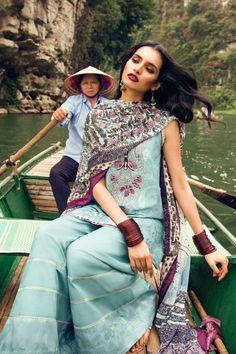 Zara Shahjhan Women's Pure Lawn Jackquard Blue Dress Material Includes Printed Chiffon Dupatta Deewam-E-Ghalib Pakistani Designer Suits, Pakistani Dress Design, Pakistani Outfits, Ethnic Fashion, Asian Fashion, Womens Fashion, Fashion Trends, Zara, Chiffon
