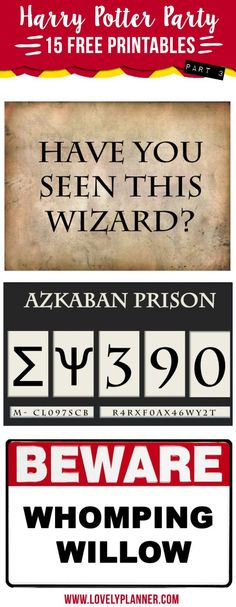 15 free Harry Potter party printables to download: Prisoner of Azkaban photo booth, whomping willow...