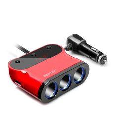 BESTEK Car-Charger 3.1A/120W Dual USB Car Charger Adapter 3 Socket Car Cigarette Lighter Splitter Adapter Built-In Fuse Car Plug