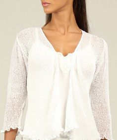 Take a look at the White Textured Ruffle Open Cardigan on #zulily today!