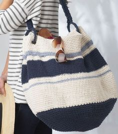 Nautical Hobo Bag -free crochet pattern-