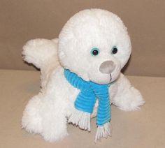 "Animal Adventure White Baby Fur Seal Plush Stuffed Blue Scarf 2014 Toy 10"" L5672 #AnimalAdventure"