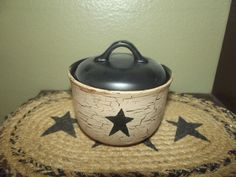 Primitive Crackle Ceramic Sugar Bowl ~ Black Stars ~ Country Decor #NaivePrimitive