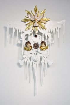 white and gold modern Stefan Strumbel cuckoo clock