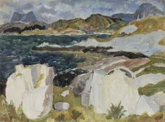 Artworks of Sir William George Gillies (British, 1898 - Seascape Paintings, Landscape Paintings, Landscapes, Royal Engineers, Drawing Ideas, Florals, Scotland, Artworks, Rocks