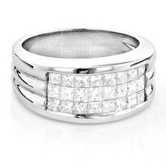 Men's Platinum Diamond Band Invisible Set Princess Cut Pinky Ring 2.5ct