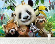 Full Square Diamond Painting Panda Sloth and Friends Selfie Tier Wallpaper, Animal Wallpaper, Wall Wallpaper, Embroidery Kits, Cross Stitch Embroidery, Jungle Animals, Cute Animals, Metal Animal, 3d Puzzel
