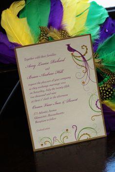 Mardi Gras Wedding Invitation