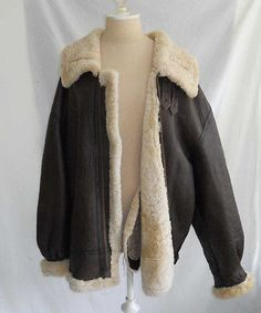 Calafate B3 Type Aviator Bomber Leather Shearling Jacket NOS US Airforce Hood L