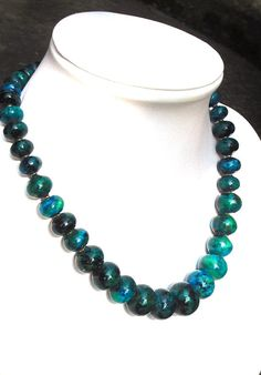 Green blue chrysocolla necklace sterling silver by CarlaDiVolpe, €79.00