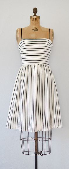 vintage inspired black white striped sundress | French Lessons Dress #vintageinspired #sundress