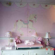Painted by Edina Steigman,  Carousel Horse wall mural for Girls Nursery http://muralmax.com  #Nursery #Murals