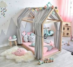 Muslin canopy for house beds & light gray Musselin Stoffhimmel für Hausbetten 'Sterne' hellgrau Soft, softer, Dinki Balloon Soft collection! Baby Bedroom, Baby Room Decor, Girls Bedroom, Bedroom Decor, Bedroom Curtains, Toddler Bed Frame, Toddler Rooms, Kids Bedroom Ideas For Girls Toddler, Baby Girls