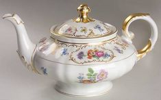 White Floral teapot and lid with gold gilt by Dresden for Franconia-Krauthheim - Porcelain Teapot Tea Pot