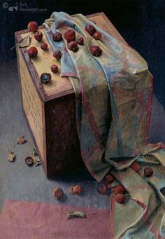 Piet Sebens Realistic Oil Painting, Magic Realism, Hyperrealism, Botanical Illustration, Oil Paintings, Still Life, Decorative Boxes, Objects, Study