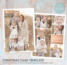 Christmas Card Template  Christmas Photo Card  by PaperLarkDesigns