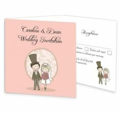 The quirky and pink tri-fold wedding invitation with perforated rsvp design is a romantic illustration focusing on the happiness of a couple on their wedding day. This illustration has a quirky, fresh feel to it which will make your guests smile when they open their invite to your wedding.This invite has a perforated rsvp panel along with an extra panel for important information.