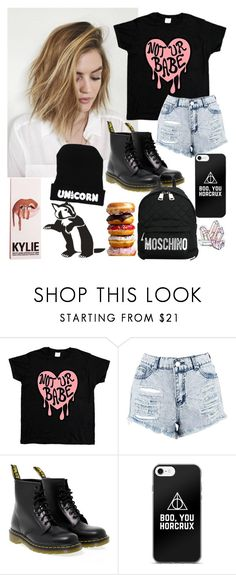 """Not your Babe."" by unicornpotter ❤ liked on Polyvore featuring Boohoo, Dr. Martens and Moschino"