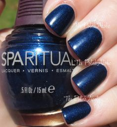 SpaRitual Fall 2014 Wander Collection: Oasis is a deep blue shimmer. Semi matte polish, shown here with topcoat.