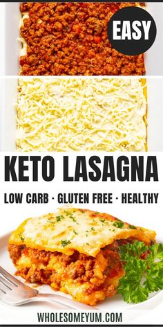 An easy low carb keto lasagna recipe with beef marinara, creamy ricotta, gooey mozzarella, and noodles just like the real thing! Only 5.6g net carbs per serving. #wholesomeyum Keto Diet For Beginners, Recipes For Beginners, Keto Lasagna, Keto Food List, Fat Burning Foods, Keto Meal Plan, Low Carb Diet, Ricotta, Mozzarella