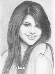 Selena Gomez, young famous singer who has created a few songs album. Graphite pencil drawing, size A4.