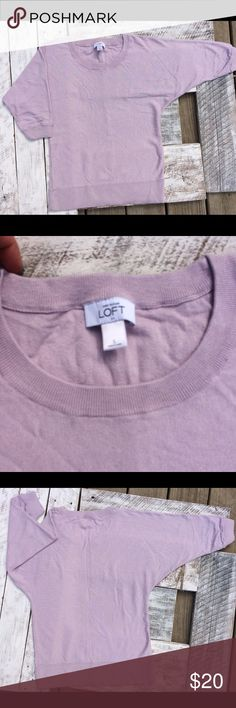Loft violet 3/4 sleeve sweater. Small. Light violet, crew neck sweater.  3/4 length sleeves. Perfect for spring. Small in women's. LOFT Sweaters Crew & Scoop Necks