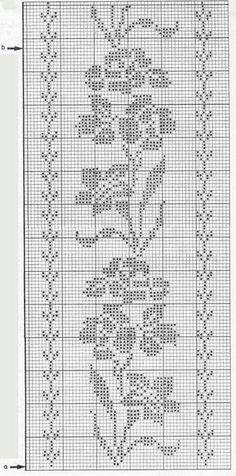 "Photo from album ""nov 2016 6 on Yandex. Crochet Curtain Pattern, Crochet Tablecloth Pattern, Crochet Curtains, Crochet Borders, Crochet Chart, Crochet Lace, Crochet Patterns, Cross Stitch Designs, Cross Stitch Patterns"