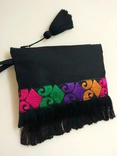 Excited to share the latest addition to my #etsy shop: Black bohemian fringe bag with coloured ethnic ribbon. Boho chic clutch bag. Colorful fringed purse. Birthday gift for her. Ethnic pohette. http://etsy.me/2j1jxn0