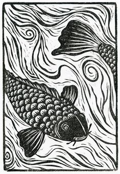 Neil Brigham, koi - heads or tails. Neil's work has been recognized and shown at the Society of Illustrators in New York and Los Angeles. His block prints have also appeared in shows in New Zealand, Ireland and Wales.  Neil lives in beautiful western Massachusetts where he makes art, gardens and occasionally mows the lawn.