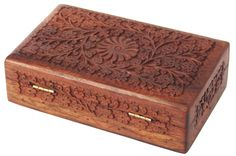 """Handmade Wooden Jewelry Box Women Jewel Hand Carved Intricate Carvings 8"""" 2-Qty"""