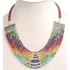 Exclusive Designer Natural African Ruby & Colombian Emerald Gemstone Beads Necklace