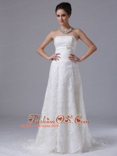 Carroll Iowa Bowknot Column Strapless Hall Exquisite Wedding Dress With Lace- $215.69  http://www.fashionos.com  http://www.facebook.com/quinceaneradress.fashionos.us  It features a beautiful strapless bodice with a straight neckline and intricate lace overlay across the skirt. The mid-section of the dress is decorated with a lovely sash. Hand made flower decorates on the overskirt, revealing exquisite lace trimmed outer skirt. The back is fitted with lace up ties.