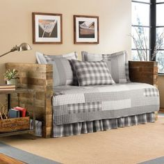 Blending casual elegance with timeless plaid, the Eddie Bauer Fairview Daybed Quilt Set adds a comforting element to any room. Showcasing a mix of patchwork tiles in understated tones, the welcoming style of this set will enhance the look of any daybed. Full Size Daybed Ikea, Ikea Daybed, Daybed Bedding, Bedding Shop, Daybed Cover Sets, Daybed Sets, Daybed With Trundle, Eddie Bauer, Cama Murphy Ikea