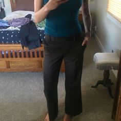 Brown/Black Pinstripe Dress Pants Bcbg- size 6. True to size, too short on me. 31'' inseam, awesome trouser, no flaws BCBG Pants Trousers
