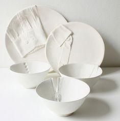 Dressed for dinner: Marianne van Ooij's slip cast ceramic dinner set.