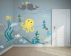 Jellyfish adventure nursery wall decal, ocean wall decal, sea wall decal, nautical wall decal, kids room wall decal, underwater decal