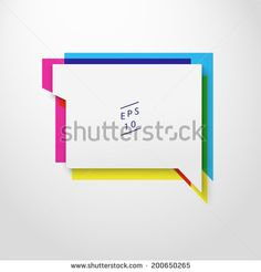 Scalable minimal vector speech bubble on colorful background for cover design, web page banner, layout, text box - CMYK version - stock vector